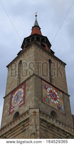 Detail of the tower of The Black Church from Brasov Transylvania Romania. Being over 500 years old The Black Church is the the greatest Gothic church in Transylvania.