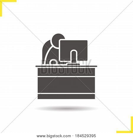 Secretary glyph icon. Drop shadow reception silhouette symbol. Office worker. Negative space. Vector isolated illustration