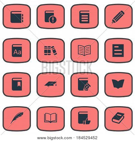 Vector Illustration Set Of Simple Education Icons. Elements Tasklist, Blank Notebook, Encyclopedia And Other Synonyms Bookmark, Pencil And Favored.
