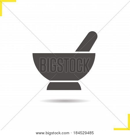Mortar and pestle glyph icon. Drop shadow naturopathy silhouette symbol. Alternative herbal medicine. Negative space. Vector isolated illustration