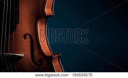 Violin musical instruments of orchestra closeup on black.