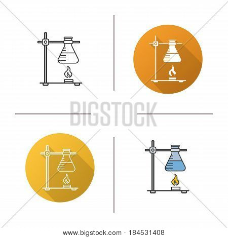 Chemical reaction icon. Flat design, linear and color styles. Ring stand with flask over fire. Isolated vector illustrations