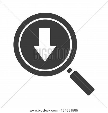 Downloaded files search glyph icon. Silhouette symbol. Magnifying glass with download arrow. Negative space. Vector isolated illustration