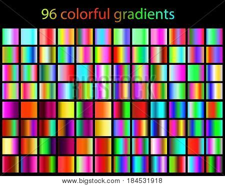 Bright Colorful Gradients Collection. 96 Various Patterns, Templates For Your Design. Multicolored B