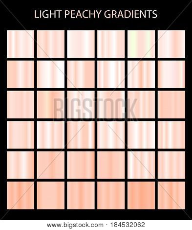Light Peachy Color Gradients Collection. Bright Patterns, Templates For Your Design. Shiny Backgroun