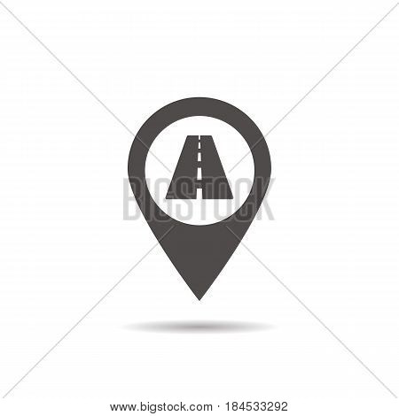 Nearby highway location icon. Drop shadow map pointer silhouette symbol. High road pinpoint. Vector isolated illustration