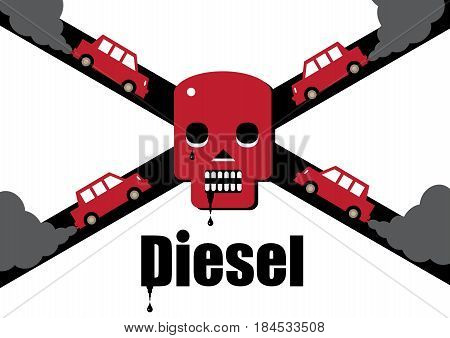 A diesel cars toxic exhaust fumes forming a skull and cross bones symbolising the dangers of the fuel.