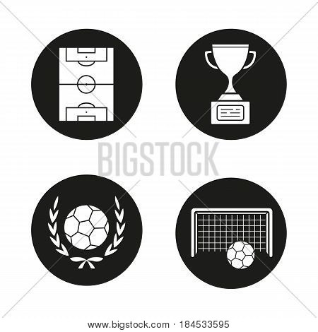 Soccer championship icons set. Winner's cup, football ball in laurel wreath, gates and field. Vector white silhouettes illustrations in black circles