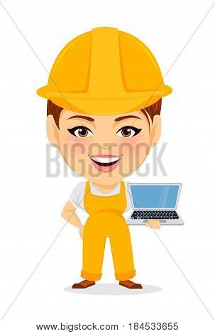 Builder woman. Funny female worker with big head standing with laptop. Humorous cartoon character repairer. Vector illustration.