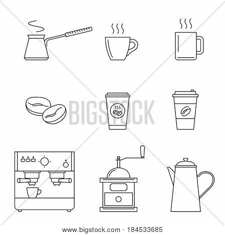 Coffee line icons set. Vector thin icons coffee machine, cups, coffee beans and coffee pots.