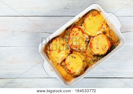 Casserole With Meat, Mushrooms, Tomato And Cheese