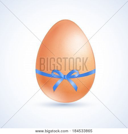 Easter egg tied a blue ribbon with a bow. Vector illustration.