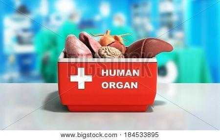 Organ Transportation Concept Open Human Organ Refrigerator Box Red 3D Render Medical  Background