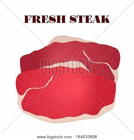 Fresh steak. Pork, ham, beef, slice of raw meat in cartoon flat style.