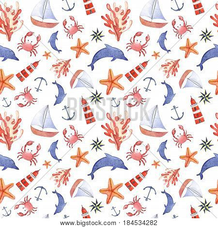 Watercolor hand drawn isolated seamless pattern with crab, anchor, dolphin, swimming goggles, sea star and lighthouse.