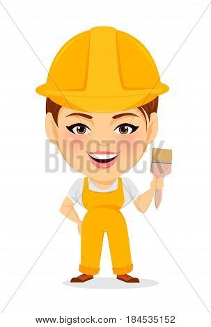 Builder woman. Funny female worker with big head holding paintbrush. Humorous cartoon character painter. Vector illustration.