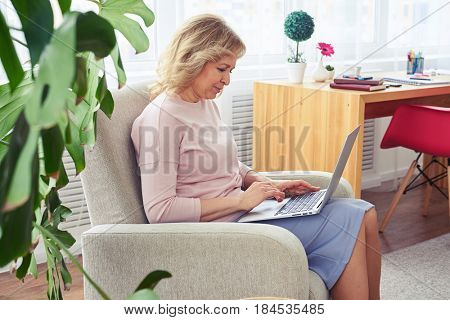 Mid shot of appealing adult woman working in laptop while sitting in armchair