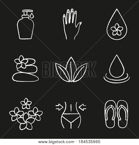Spa salon chalk icons set. Aroma oil drops, cream, woman's hand with manicure, stones massage, loose leaves, flowers, weight loss, flip flops. Isolated vector chalkboard illustrations