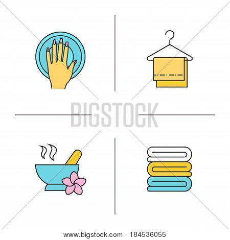 Spa salon color icons set. Hand with manicure, mortar and pestle, clean spa salon towels on clothes hanger. Isolated vector illustrations