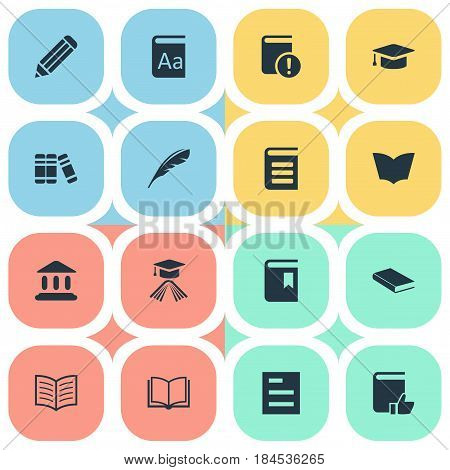 Vector Illustration Set Of Simple Education Icons. Elements Plume, Graduation Hat, Book Cover And Other Synonyms Academic, Journal And Feather.