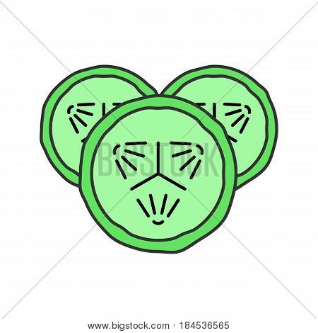 Cucumber slices color icon. Spa. Cucumber facial mask. Isolated vector illustration