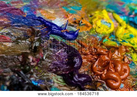 Uzhgorod Ukraine - April 28 2017: Oil colors on the palette during the Second All-Ukrainian Students' Painting Competition Silver Easel.