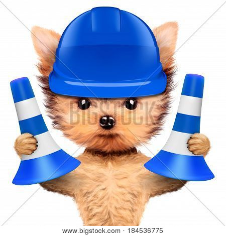 Funny dog in blue hard hat with cone isolated on white background. Concepts for web banners, web sites. Fixing computer and repair center concept with cute dog. 3D illustration with clipping path