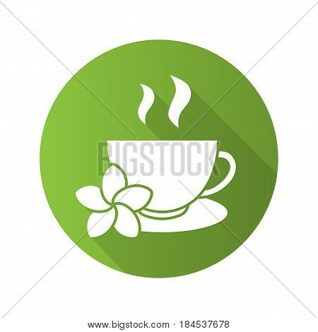 Herbal teacup flat design long shadow icon. Tea cup with plumeria flower. Vector silhouette symbol