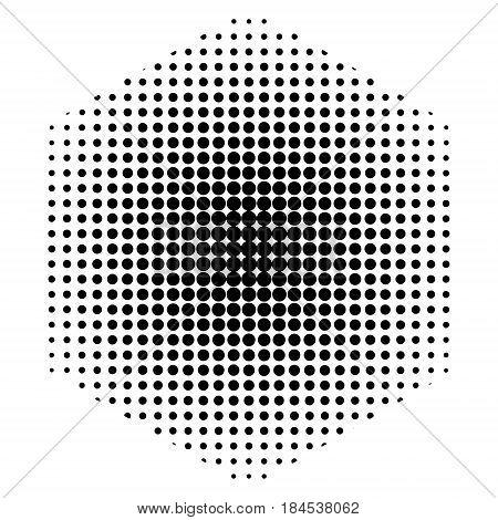 Dots half tone pattern background inside hexagon shape