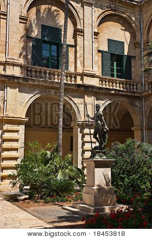 The Grandmaster's Palace yard with the sculpture in the middle of it, Valletta, Malta poster