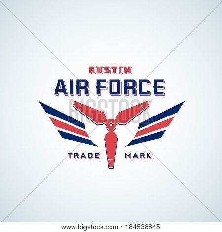 Air Force Vector Retro Label, Sign or Logo Template. Aerolane Airscrew with Wings in Red and Blue Colours. Isolated.