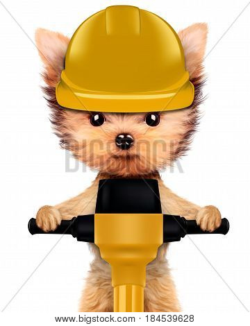 Funny dog with jackhammer isolated on white background. Fixing computer and repair center concept with cute dog. Concepts for web banners, web sites. 3D illustration with clipping path