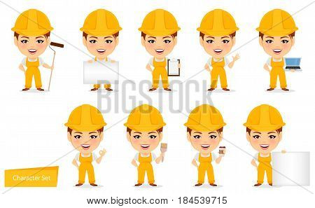 Builder woman. Funny female worker with big head. Set of humorous cartoon character. Vector illustration.