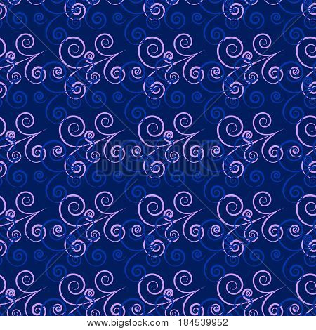 Blue twig seamless pattern. Fashion graphic background design. Modern stylish abstract texture. Colorful template for prints textiles wrapping wallpaper website etc. Vector illustration