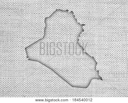 Map Of Iraq On Old Linen