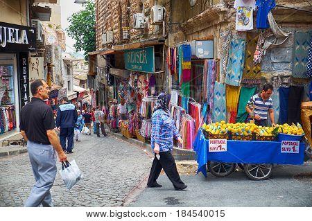 The Market Street  Near Grand  Bazaar In Istanbul