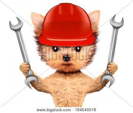 Funny dog in hard hat with wrench isolated on white background. Concepts for web banners, web sites. Fixing computer and repair center concept with cute dog. 3D illustration with clipping path