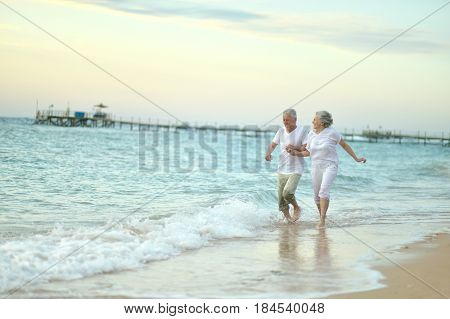 Nice old couple running on sea beach