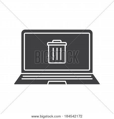 Laptop trash glyph icon. Silhouette symbol. Laptop with trashcan. Negative space. Vector isolated illustration