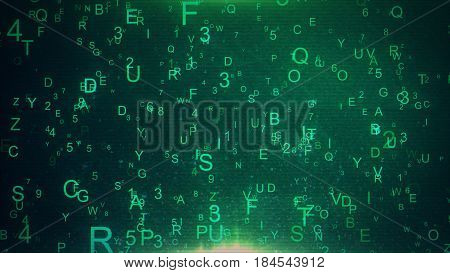 Alphabet Letters And Numbers Randomly Thrown In Space Creating An Abstract Digital Background With N