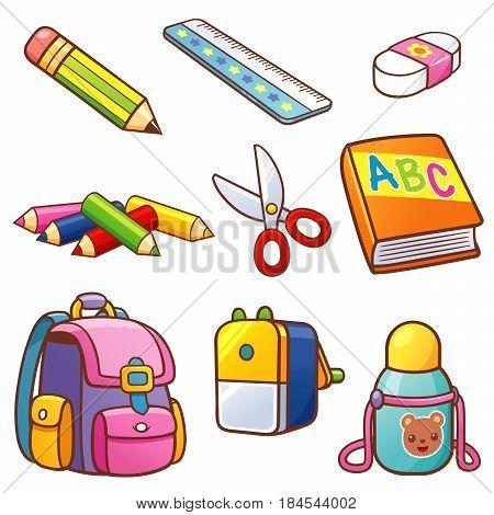 Vector illustration of Cartoon Back to school set
