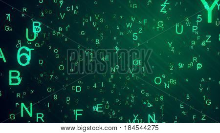 Abstract Digital Background. Machine Code. Hexadecimal Code. Random Digits And Letters Colored Illus