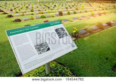 KANCHANABUI THAILAND - May 2017: Military cemetery records of Kanchanaburi War Cemetery in Thailand.