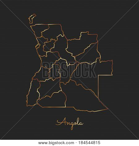 Angola Region Map: Golden Gradient Outline On Dark Background. Detailed Map Of Angola Regions. Vecto