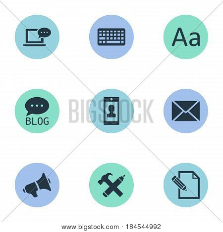 Vector Illustration Set Of Simple Blogging Icons. Elements Document, Profile, Site And Other Synonyms Man, Missive And Site.