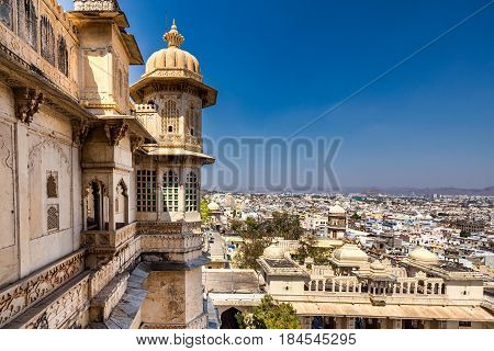 View from high point upon Udaipur castle, India.