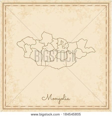 Mongolia Region Map: Stilyzed Old Pirate Parchment Imitation. Detailed Map Of Mongolia Regions. Vect