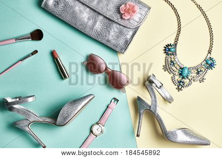 Fashion Design Woman Accessories Set. Pastel Colors. Cosmetic Makeup. Glamor fashion shoes Heels. Trendy Sunglasses fashion Handbag Clutch. Luxury Shiny Party lady. Creative Urban. Art. Minimal