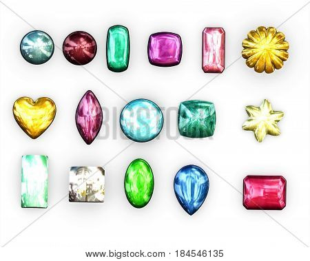 cabochons Colored set on White background-3D illustration