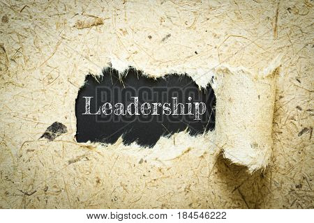 Text Leadership on paper black has Mulberry paper background you can apply to your product.